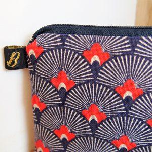 Trousse maquillage motif éventail - L'Atelier du Bourget - Artisanat textile français