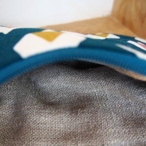 Trousse maquillage bleu canard - L'Atelier du Bourget - Artisanat textile français