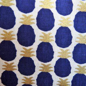 Trousse maquillage ananas bleus - L'Atelier du Bourget - Artisanat textile français