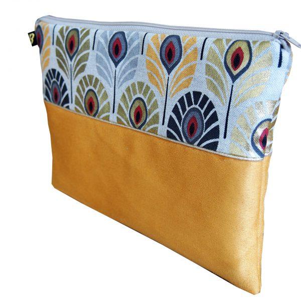Trousse plate bicolore collection Plumes de paon jaune - L'Atelier du Bourget - Artisanat textile français