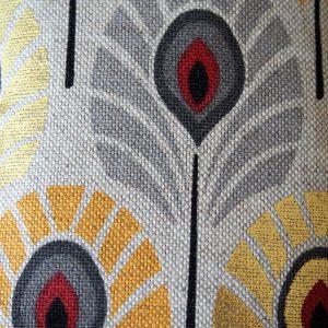 Etui lunettes Plumes de paon jaune - L'Atelier du Bourget - Artisanat textile français