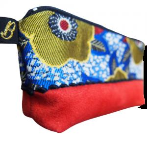 Petite trousse bicolore triangulaire - L'Atelier du Bourget - Artisanat textile français